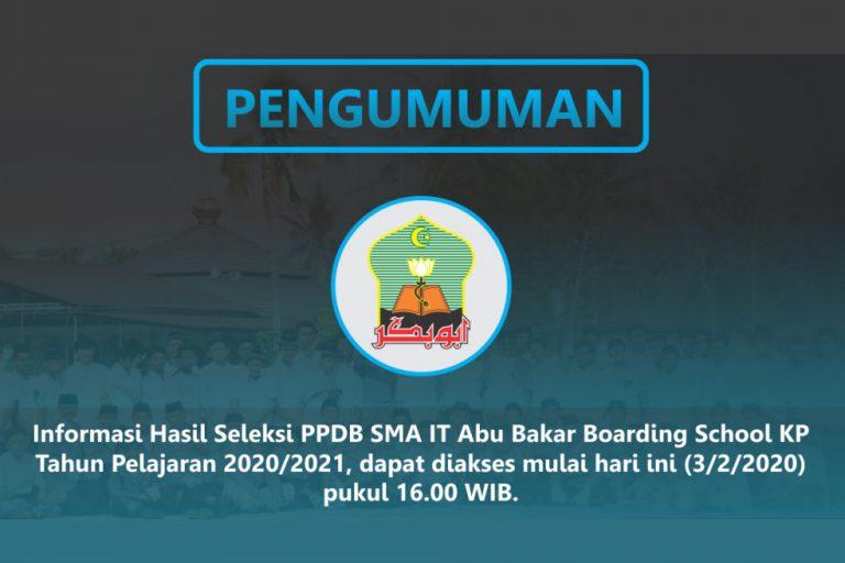 Pengumuman Hasil Seleksi PPDB ABBSKP Tahun 2020/2021